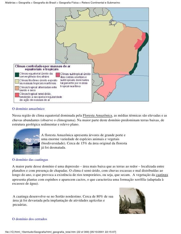 Matérias > Geografia > Geografia do Brasil > Geografia Física > Relevo Continental e Submarino     O domínio amazônico    ...