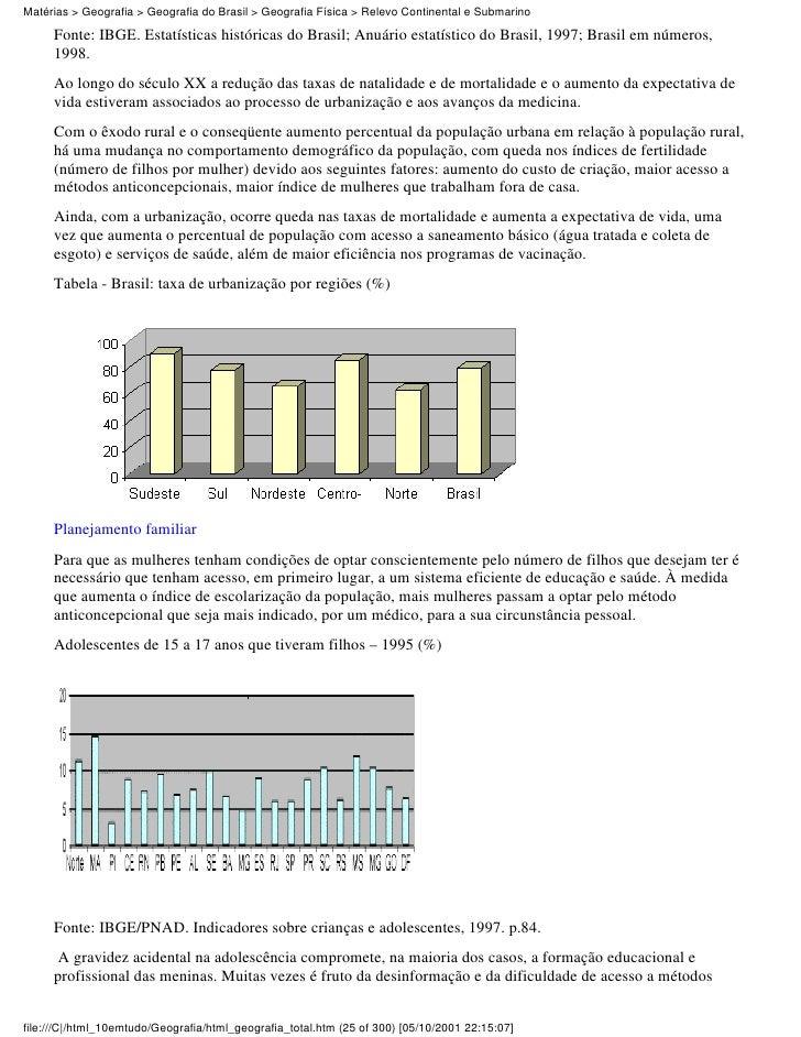 Matérias > Geografia > Geografia do Brasil > Geografia Física > Relevo Continental e Submarino     Fonte: IBGE. Estatístic...