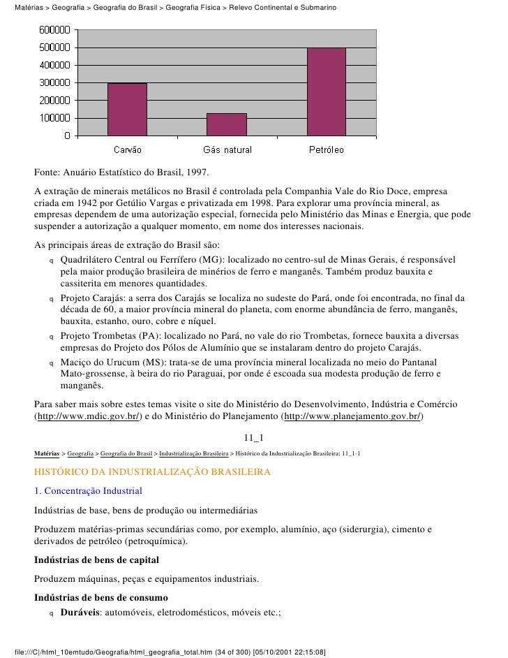 Matérias > Geografia > Geografia do Brasil > Geografia Física > Relevo Continental e Submarino     Fonte: Anuário Estatíst...