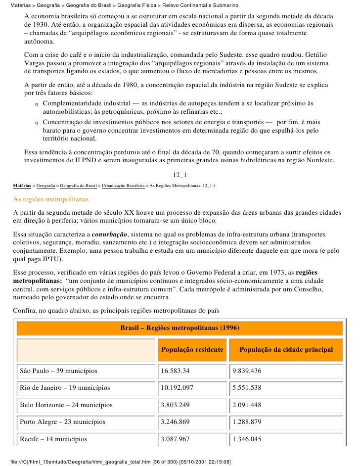 Matérias > Geografia > Geografia do Brasil > Geografia Física > Relevo Continental e Submarino      A economia brasileira ...