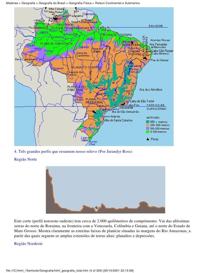 Matérias > Geografia > Geografia do Brasil > Geografia Física > Relevo Continental e Submarino     4. Três grandes perfis ...