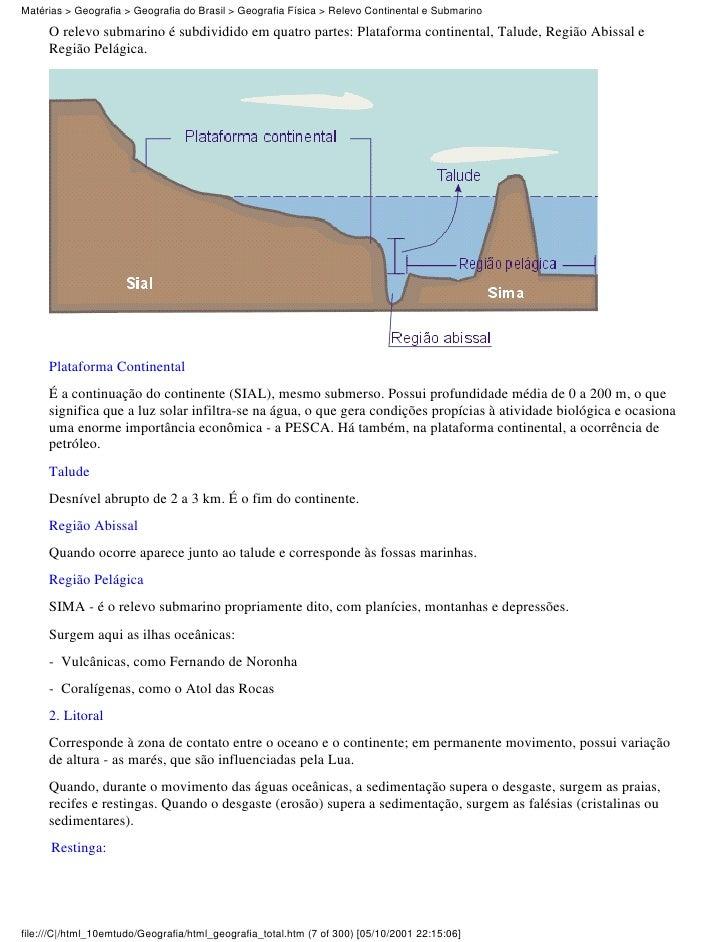 Matérias > Geografia > Geografia do Brasil > Geografia Física > Relevo Continental e Submarino     O relevo submarino é su...