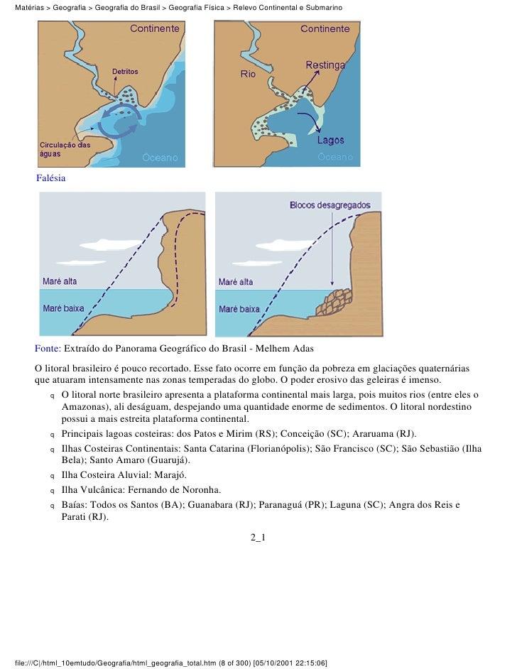 Matérias > Geografia > Geografia do Brasil > Geografia Física > Relevo Continental e Submarino      Falésia     Fonte: Ext...