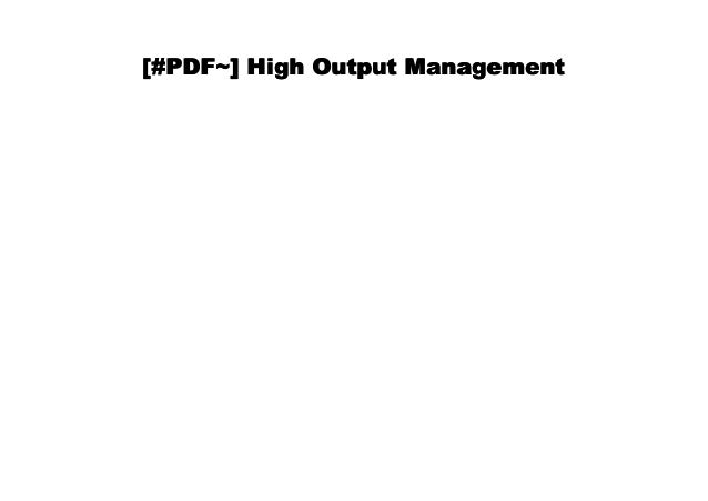 High Output Management PDF Free Download