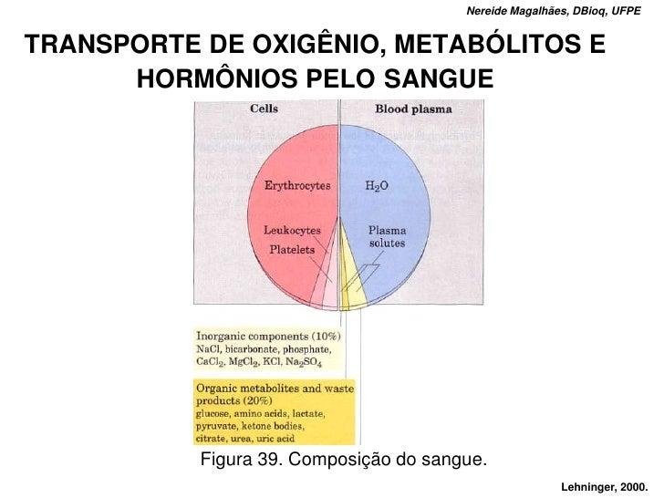 Nereide Magalhães, DBioq, UFPE   TRANSPORTE DE OXIGÊNIO, METABÓLITOS E       HORMÔNIOS PELO SANGUE                Figura 3...