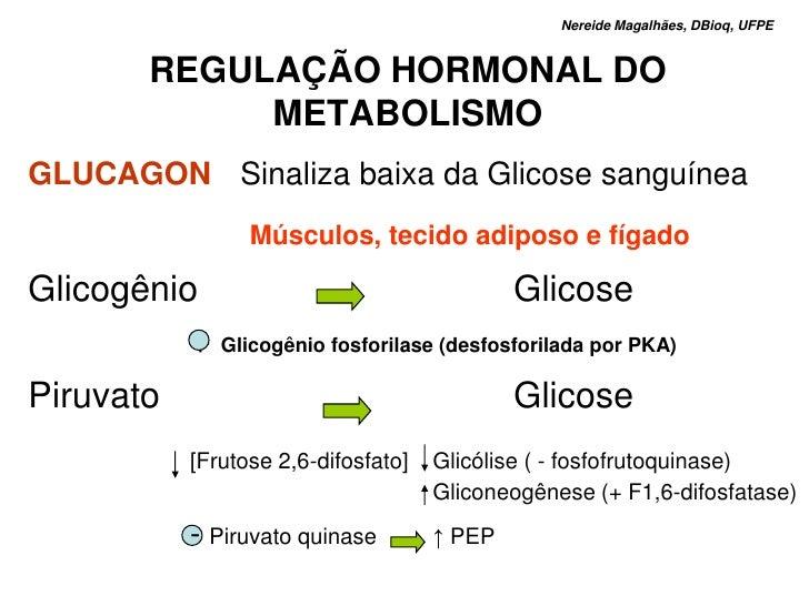 Nereide Magalhães, DBioq, UFPE             REGULAÇÃO HORMONAL DO                METABOLISMO GLUCAGON Sinaliza baixa da Gli...