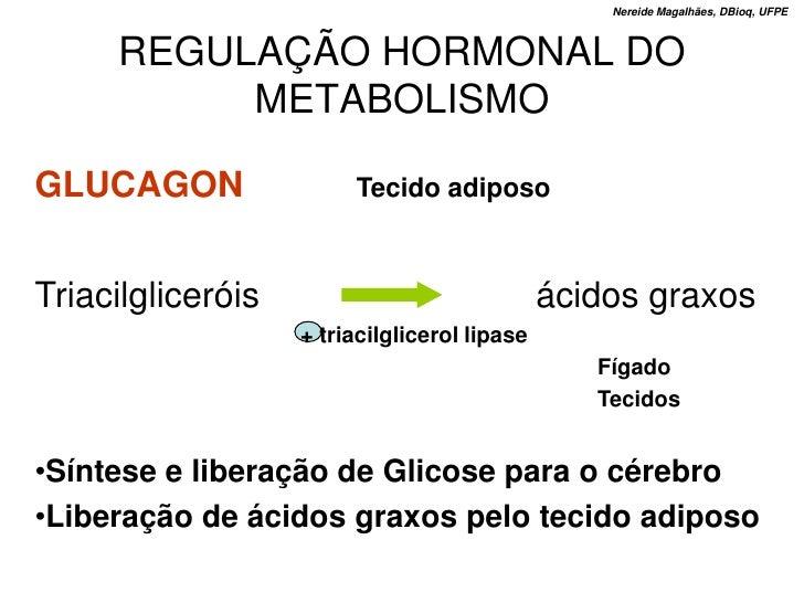 Nereide Magalhães, DBioq, UFPE         REGULAÇÃO HORMONAL DO           METABOLISMO  GLUCAGON                Tecido adiposo...