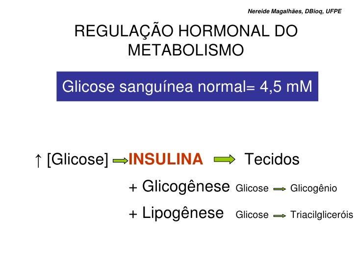 Nereide Magalhães, DBioq, UFPE        REGULAÇÃO HORMONAL DO           METABOLISMO      Glicose sanguínea normal= 4,5 mM   ...