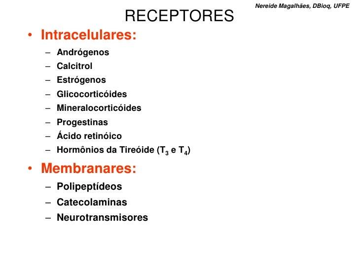 Nereide Magalhães, DBioq, UFPE                        RECEPTORES • Intracelulares:   – Andrógenos   – Calcitrol   – Estróg...