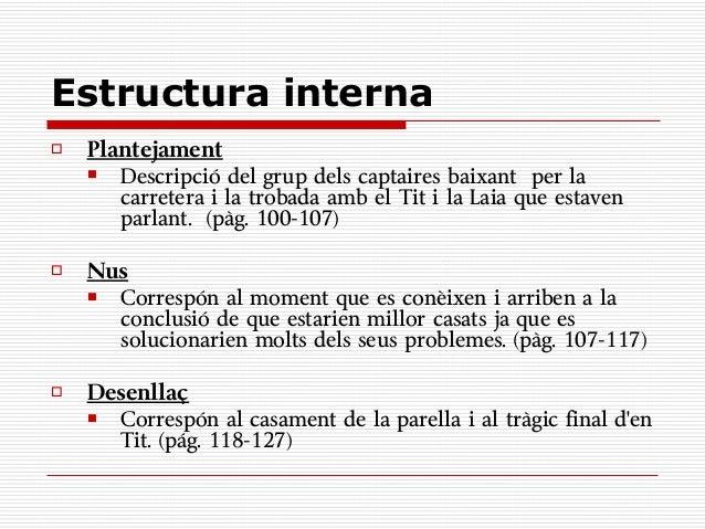 Estructura interna   Plantejament      Descripció del grup dels captaires baixant per la       carretera i la trobada am...