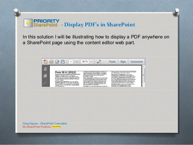 - Display PDF's in SharePointIn this solution I will be illustrating how to display a PDF anywhere ona SharePoint page usi...