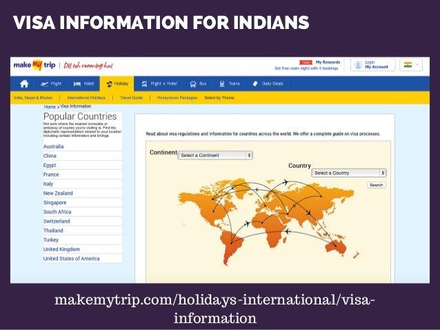 VISA INFORMATION FOR INDIANS makemytrip.com/holidays-international/visa- information