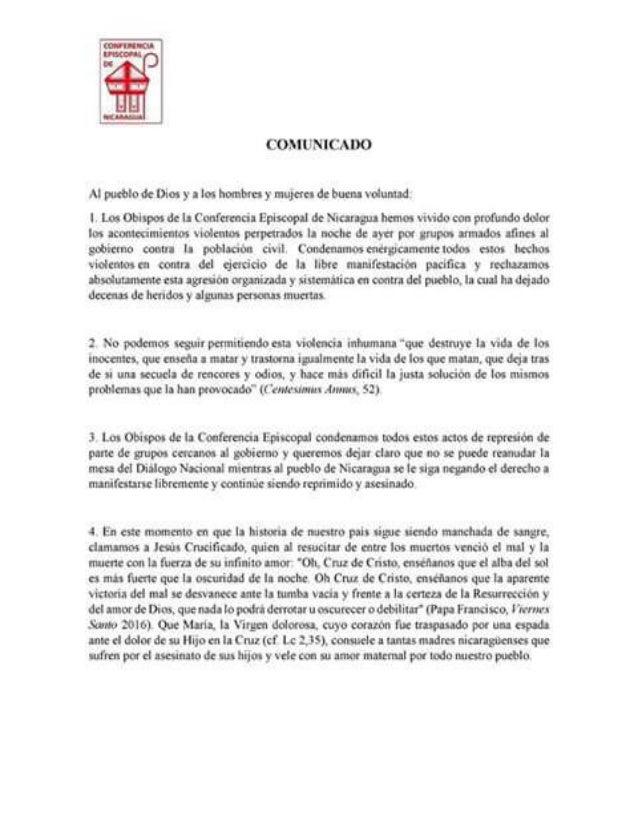 Comunicado de la Conferencia Episcopal Nicaraguense