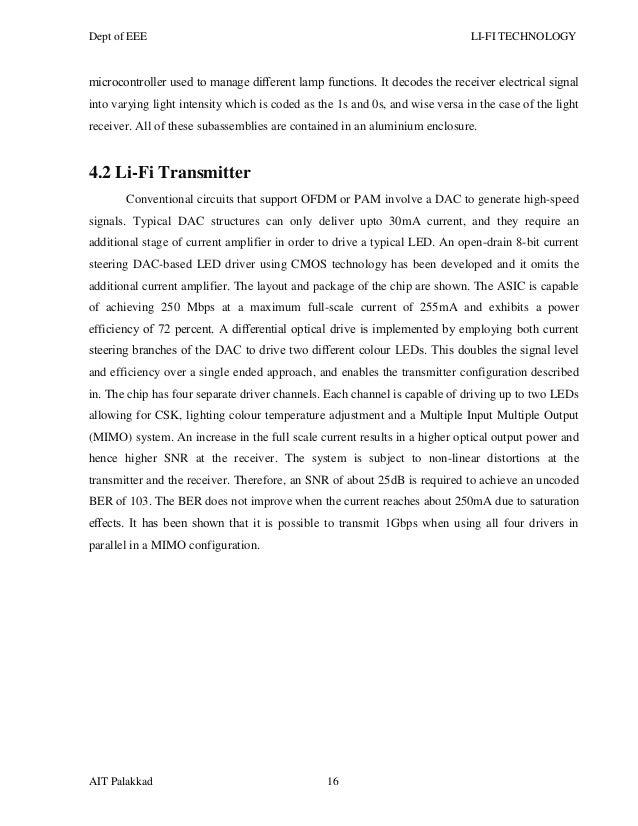 li fi technology essay Li-fi (light fidelity): the future technology in wireless communication 1689 figure:11 genesis of li-fi at ted global demonstration by haas, where he achieved 10 mbps transfer rate.