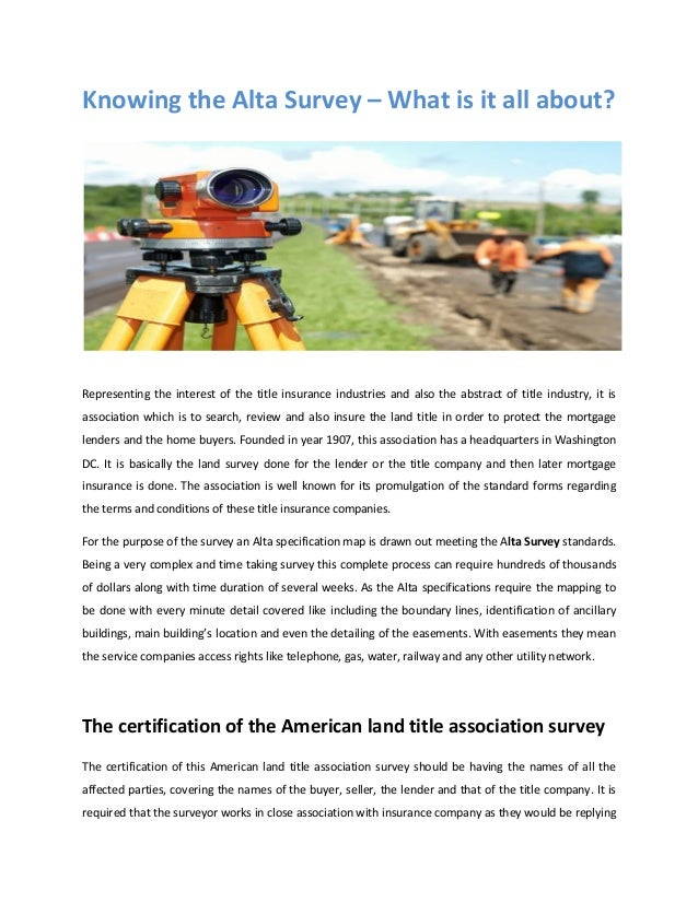 Knowing The Alta Survey What Is It All About