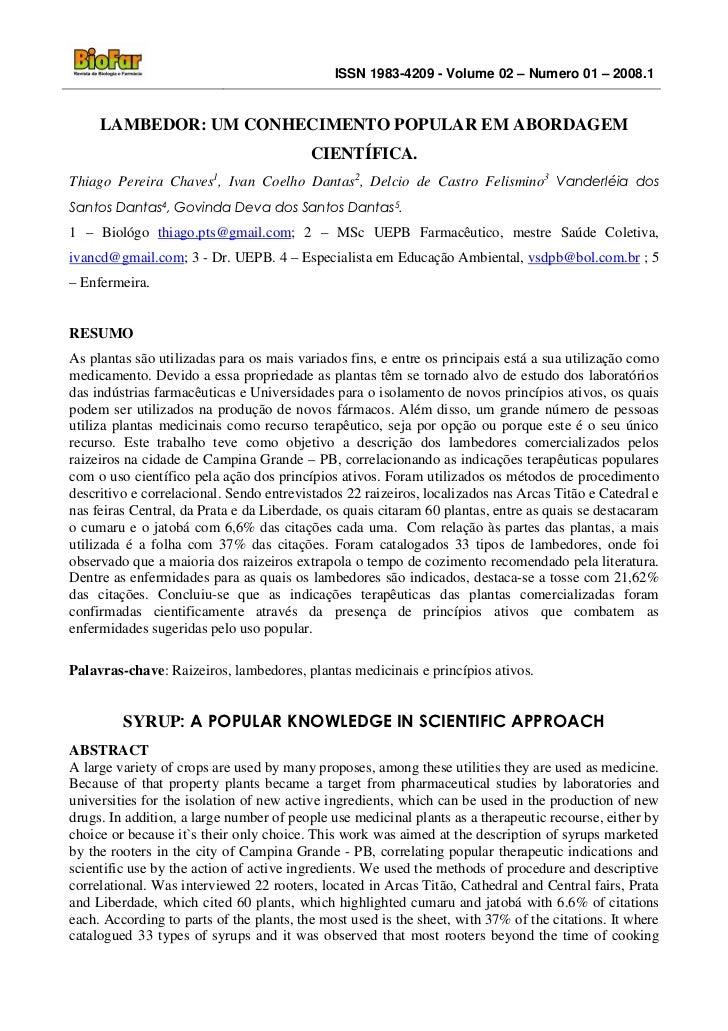 ISSN 1983-4209 - Volume 02 – Numero 01 – 2008.1     LAMBEDOR: UM CONHECIMENTO POPULAR EM ABORDAGEM                        ...