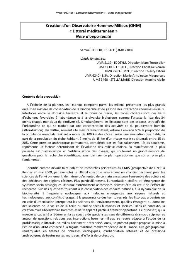 Projet d'OHM « Littoral méditerranéen » - Note d'opportunité  Créationd'unObservatoireHommes‐Milieux(OHM) «Littoral...