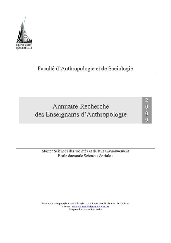 Faculté d'Anthropologie et de Sociologie                                                                                  ...