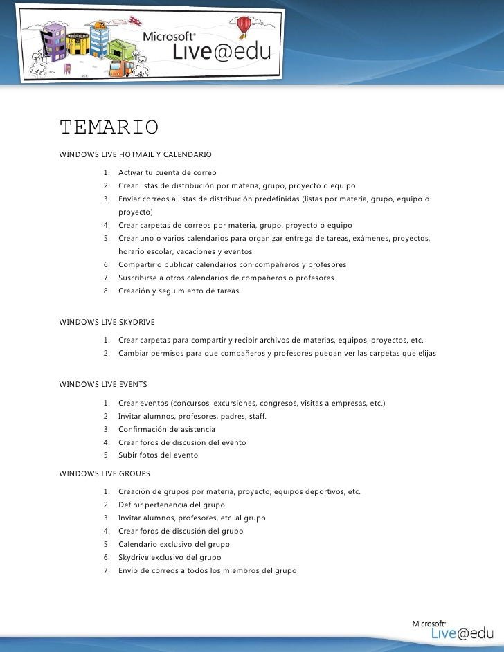 TEMARIOWINDOWS LIVE HOTMAIL Y CALENDARIO         1.   Activar tu cuenta de correo         2.   Crear listas de distribució...