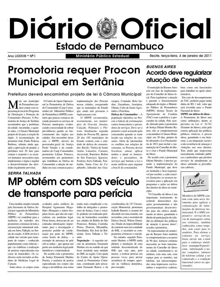 Diário Oficial                                   Estado de PernambucoAno LXXXVIII       l   NO 1                          ...