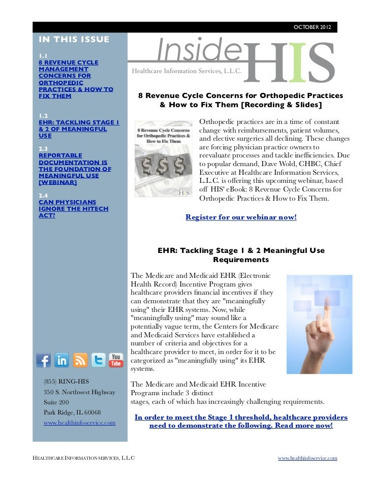 OCTOBER 2012                                              Inside  IN THIS ISSUE  1.1  8 REVENUE CYCLE  MANAGEMENT  CONCERN...