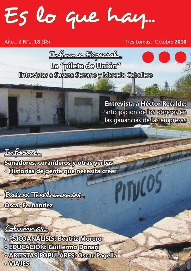 Es lo que hay... Columnas... • PSICOANÁLISIS: Beatriz Morero • EDUCACIÓN: Guillermo Donari • ARTISTAS POPULARES: Oscar Pag...