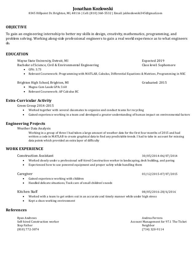Jonathan Kozlowski S Resume