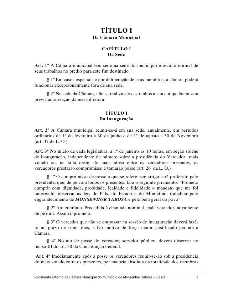 TÍTULO I                                   Da Câmara Municipal                                          CAPÍTULO I        ...