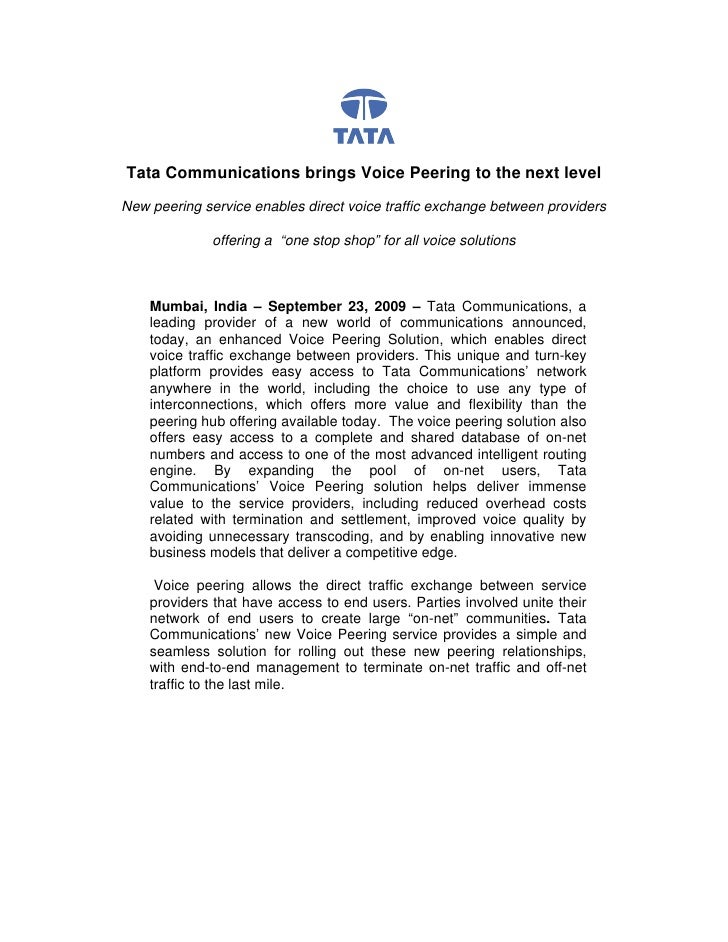 Tata Communications brings Voice Peering to the next level  New peering service enables direct voice traffic exchange betw...
