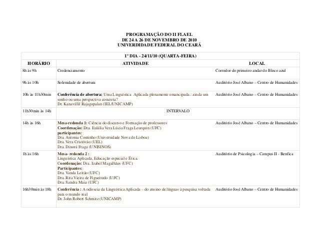PROGRAMAÇÃO DO II FLAEL DE 24 A 26 DE NOVEMBRO DE 2010 UNIVERDIDADE FEDERAL DO CEARÁ 1º DIA - 24/11/10 (QUARTA-FEIRA) HORÁ...