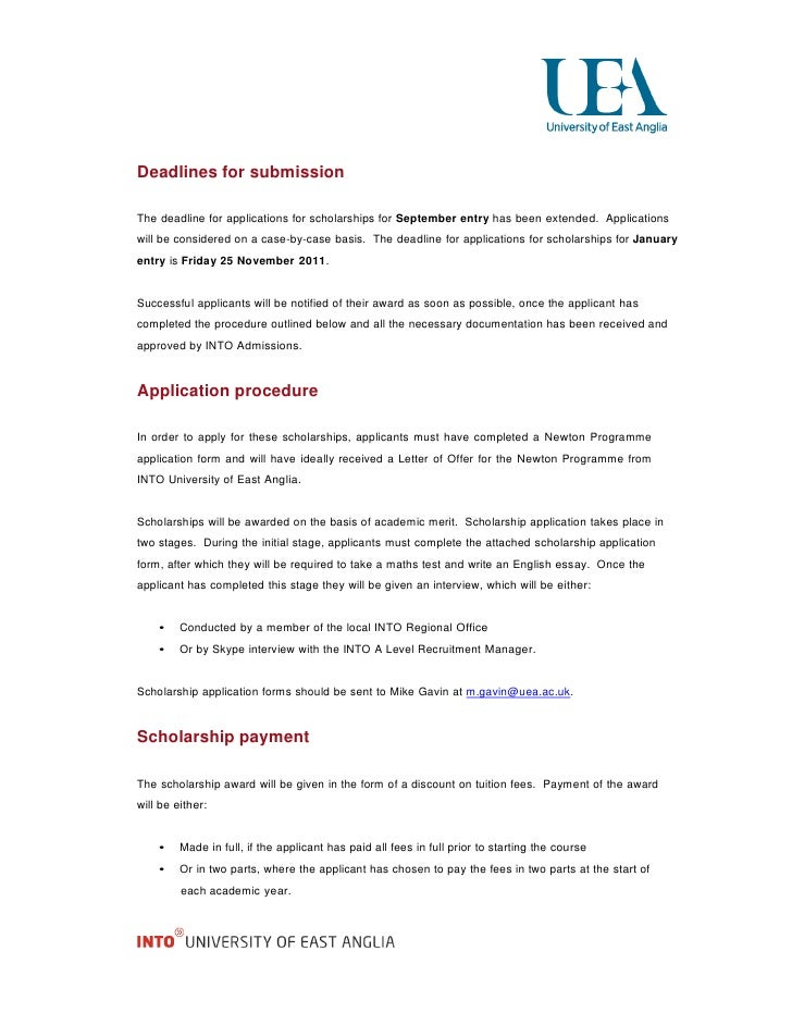 deadlines for submissionthe deadline for applications for scholarships ...