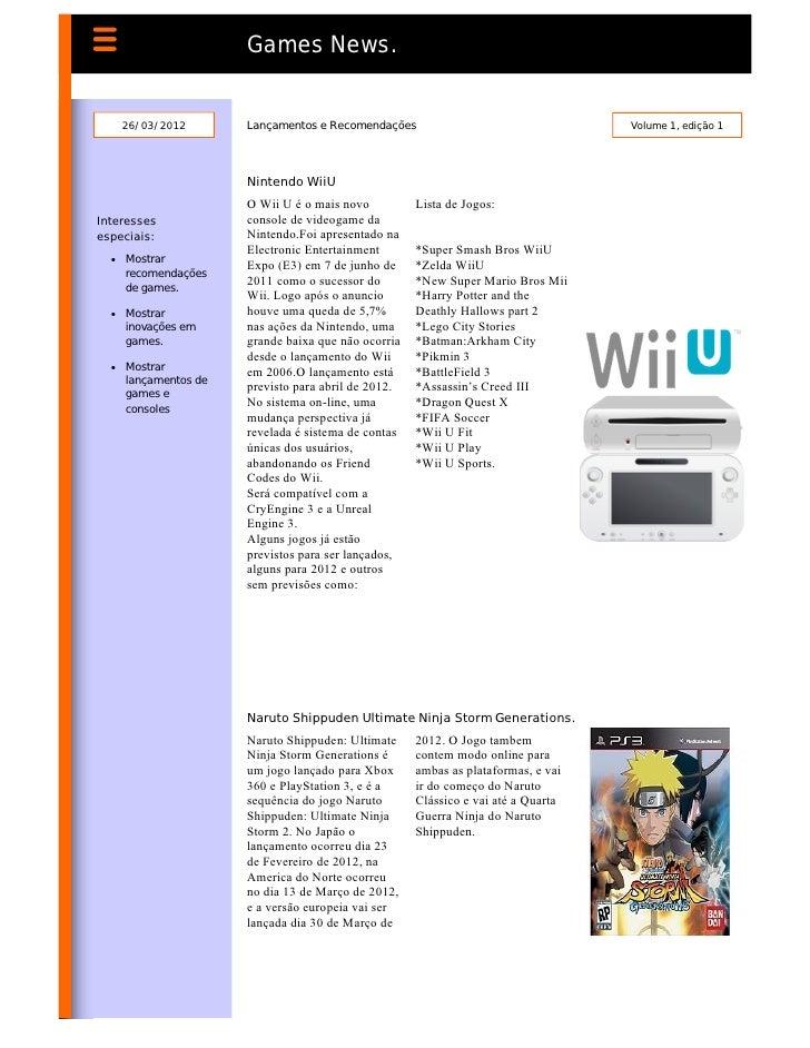 Games News.    26/03/2012       Lançamentos e Recomendações                                  Volume 1, edição 1           ...