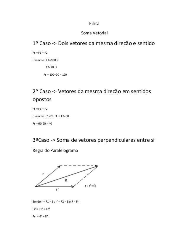 Física                                            Soma Vetorial1º Caso -> Dois vetores da mesma direção e sentidoFr = F1 +...