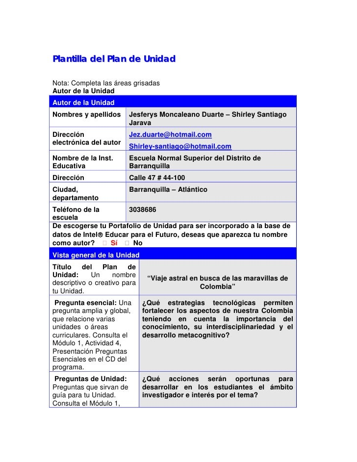 1Plantilla del Plan de UnidadNota: Completa las áreas grisadasAutor de la UnidadAutor de la UnidadNombres y apellidos     ...