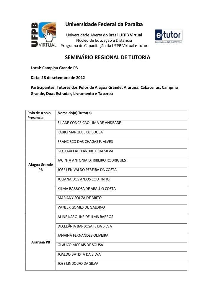 Universidade Federal da Paraíba                    Universidade Aberta do Brasil UFPB Virtual                         Núcl...