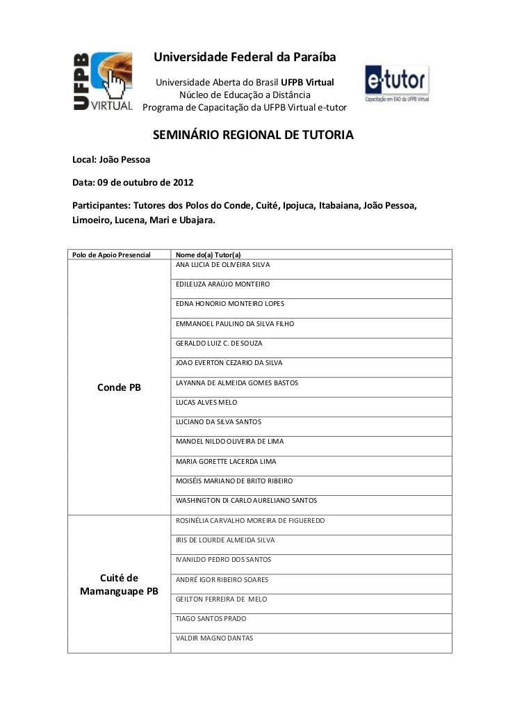 Universidade Federal da Paraíba                        Universidade Aberta do Brasil UFPB Virtual                         ...