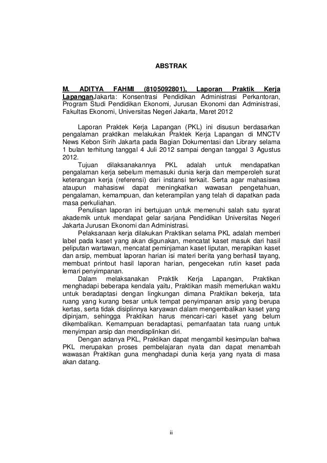 Contoh Laporan Prakerin Administrasi Perkantoran Pdf Kumpulan Contoh Laporan