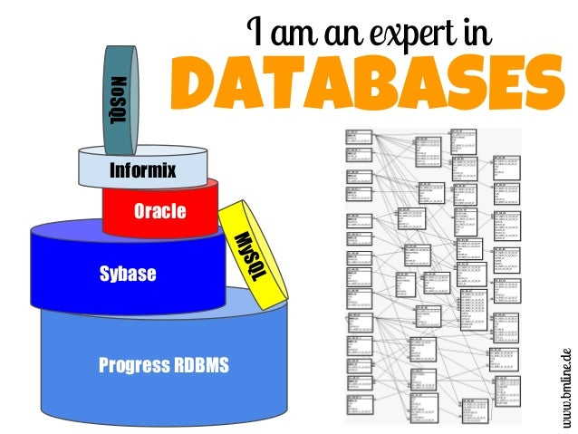 I am an expert in DATABASES Progress RDBMS Sybase Oracle Informix NoSQL MySQL www.bmline.de