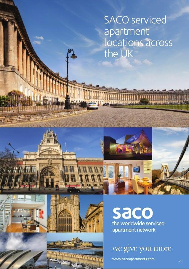 SACO servicedapartmentlocations acrossthe UK www.sacoapartments.com                          v1