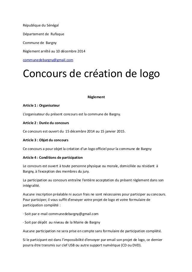 République du Sénégal  Département de Rufisque  Commune de Bargny  Règlement arrêté au 10 décembre 2014  communedebargny@g...