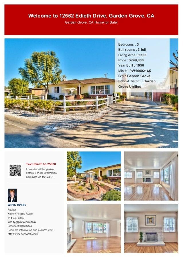 Welcome To 12562 Edieth Drive, Garden Grove, CA Garden Grove, CA Home For