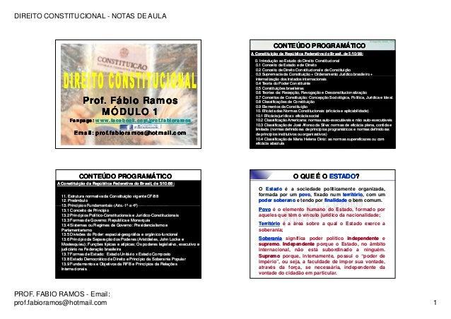 DIREITO CONSTITUCIONAL - NOTAS DE AULA PROF. FABIO RAMOS - Email: prof.fabioramos@hotmail.com 1 Prof. Fábio RamosProf. Fáb...