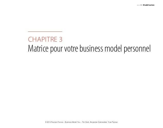 page 53 Modélisation  chapitre 3  Matrice pour votre business model personnel  © 2012 Pearson France – Business Model You ...