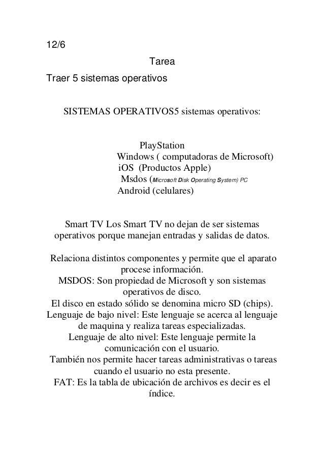 12/6 Tarea Traer 5 sistemas operativos SISTEMAS OPERATIVOS5 sistemas operativos: PlayStation Windows ( computadoras de Mic...