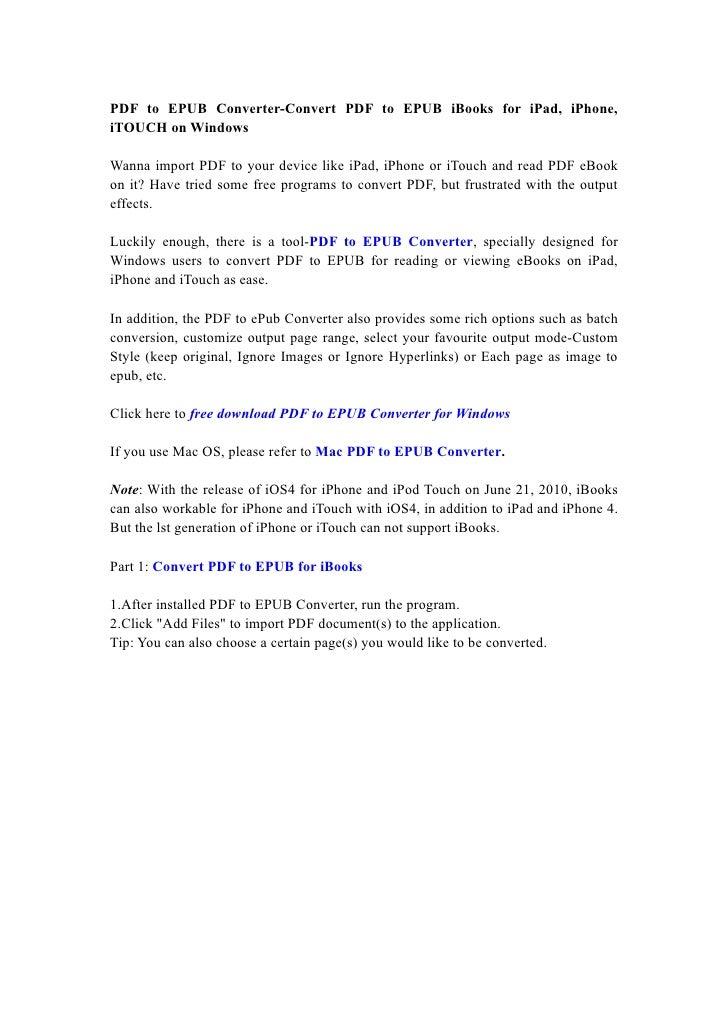 PDF to EPUB Converter-Convert PDF to EPUB iBooks for iPad