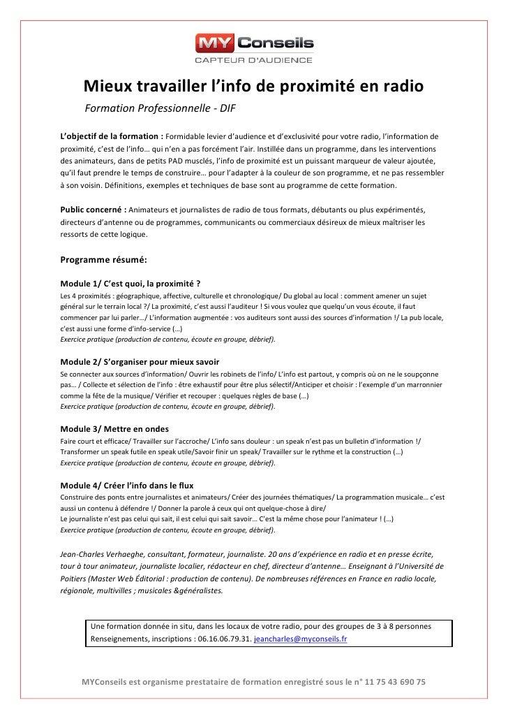 Mieux travailler l'info de proximité en radio        Formation Professionnelle - DIFL'objectif de la formation : Formidabl...