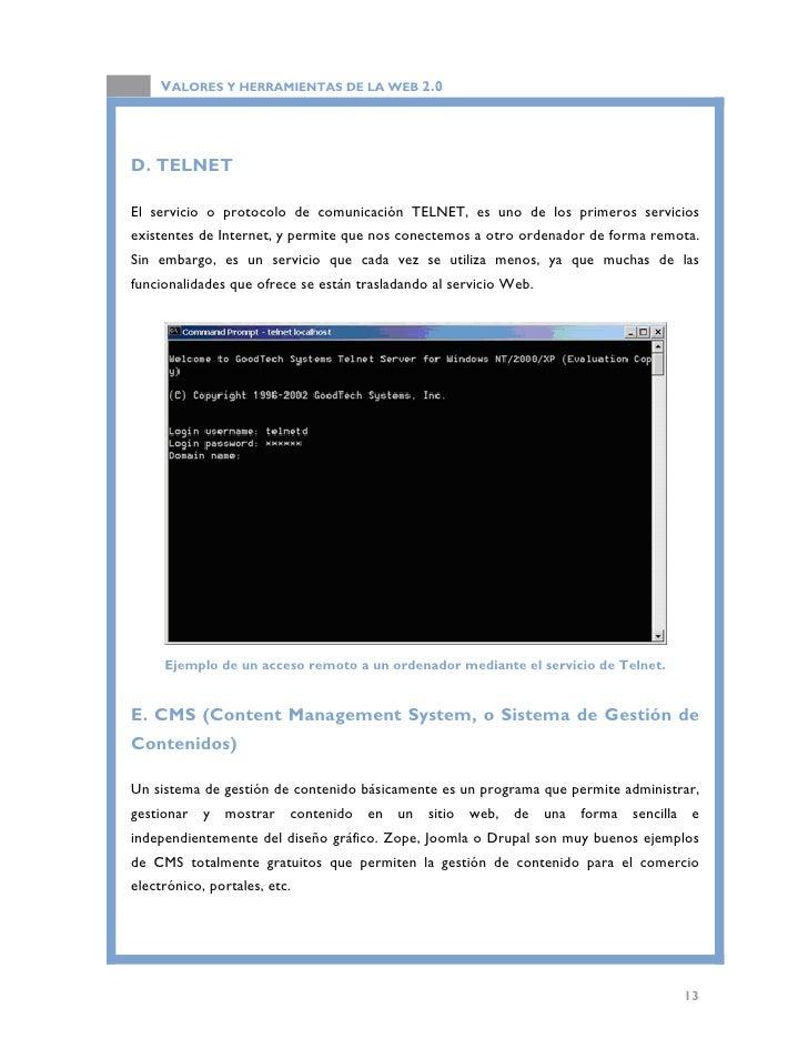 VALORES Y HERRAMIENTAS DE LA WEB 2.0                                Acceso a la web principal de Joomla.                  ...