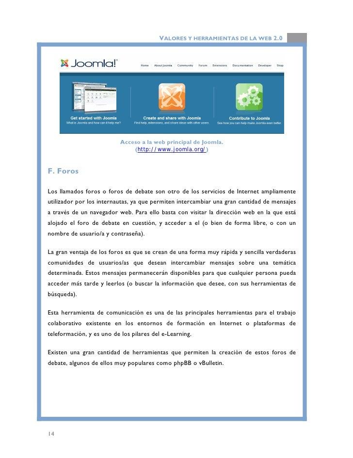 """VALORES Y HERRAMIENTAS DE LA WEB 2.0                           Software para la creación de foros """"phpBB"""".                ..."""