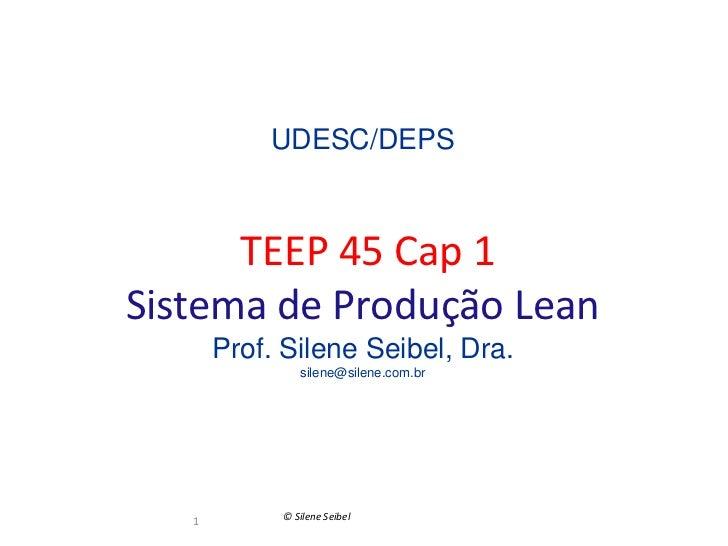 UDESC/DEPS      TEEP 45 Cap 1Sistema de Produção Lean       Prof. Silene Seibel, Dra.               silene@silene.com.br  ...