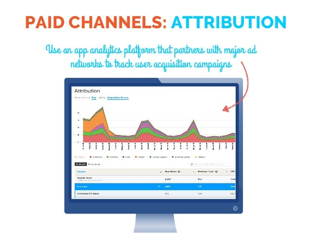 PAID CHANNELS: ATTRIBUTION Use an app analytics platform that partners with major ad networks to track user acquisition ca...